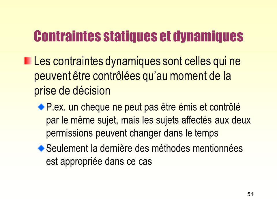 Contraintes statiques et dynamiques Les contraintes dynamiques sont celles qui ne peuvent être contrôlées quau moment de la prise de décision P.ex. un