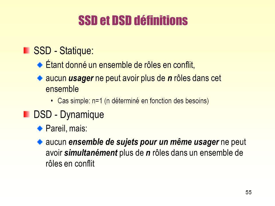 SSD et DSD définitions SSD - Statique: Étant donné un ensemble de rôles en conflit, aucun usager ne peut avoir plus de n rôles dans cet ensemble Cas s