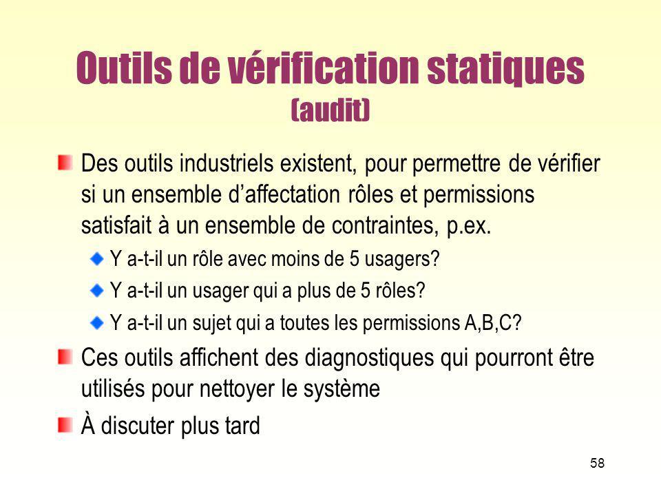 Outils de vérification statiques (audit) Des outils industriels existent, pour permettre de vérifier si un ensemble daffectation rôles et permissions