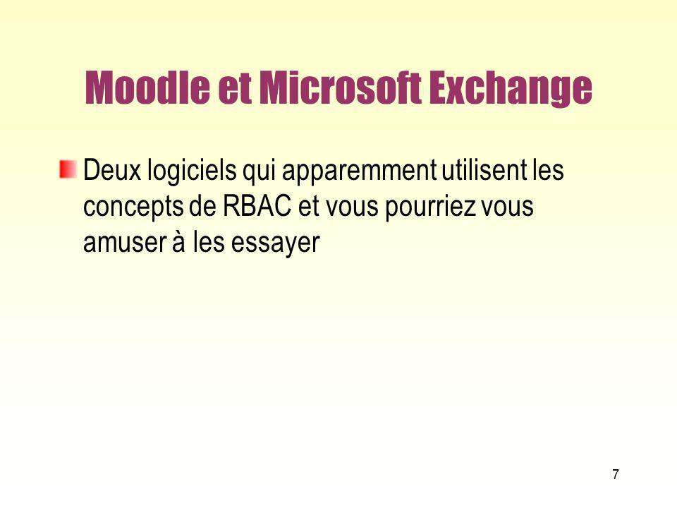 Moodle et Microsoft Exchange Deux logiciels qui apparemment utilisent les concepts de RBAC et vous pourriez vous amuser à les essayer 7