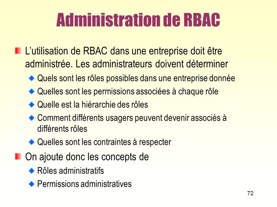 72 Administration de RBAC Lutilisation de RBAC dans une entreprise doit être administrée. Les administrateurs doivent déterminer Quels sont les rôles