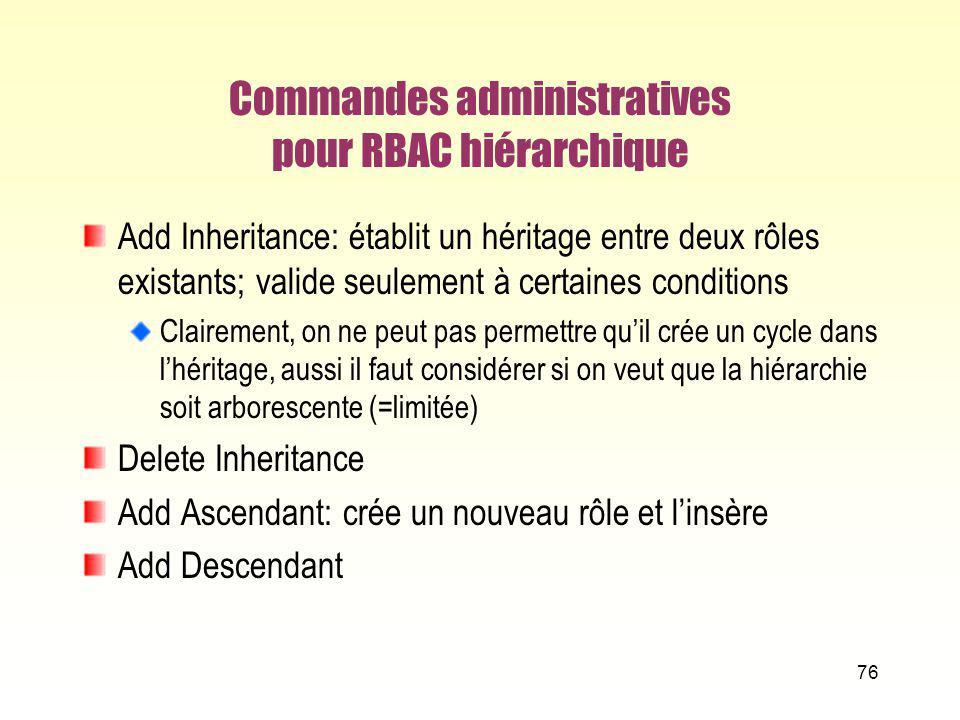 Commandes administratives pour RBAC hiérarchique Add Inheritance: établit un héritage entre deux rôles existants; valide seulement à certaines conditi