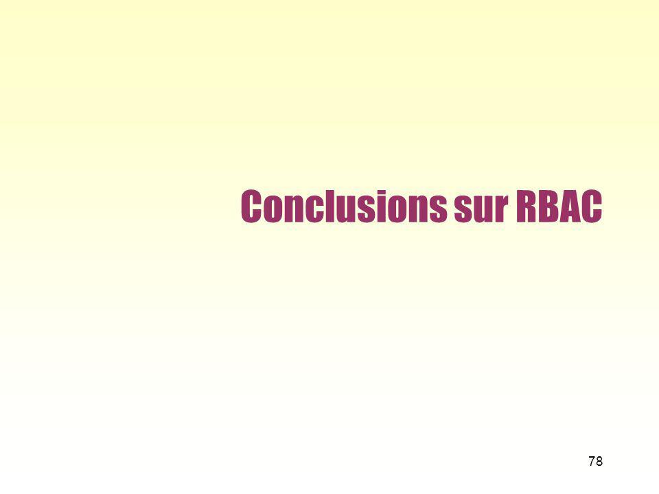 Conclusions sur RBAC 78