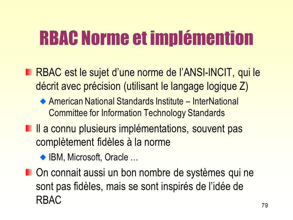RBAC Norme et implémention RBAC est le sujet dune norme de lANSI-INCIT, qui le décrit avec précision (utilisant le langage logique Z) American Nationa