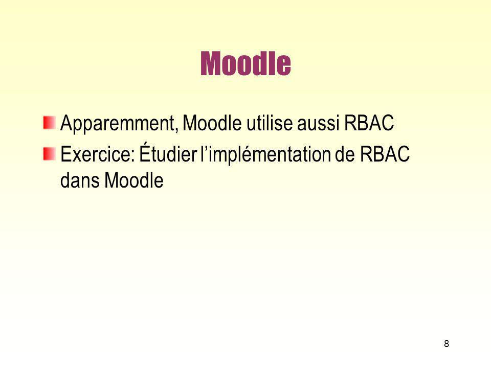 RBAC Norme et implémention RBAC est le sujet dune norme de lANSI-INCIT, qui le décrit avec précision (utilisant le langage logique Z) American National Standards Institute – InterNational Committee for Information Technology Standards Il a connu plusieurs implémentations, souvent pas complètement fidèles à la norme IBM, Microsoft, Oracle … On connait aussi un bon nombre de systèmes qui ne sont pas fidèles, mais se sont inspirés de lidée de RBAC 79