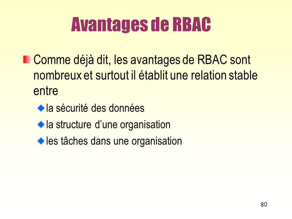 Avantages de RBAC Comme déjà dit, les avantages de RBAC sont nombreux et surtout il établit une relation stable entre la sécurité des données la struc