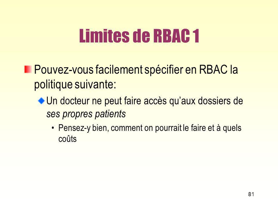 Limites de RBAC 1 Pouvez-vous facilement spécifier en RBAC la politique suivante: Un docteur ne peut faire accès quaux dossiers de ses propres patient