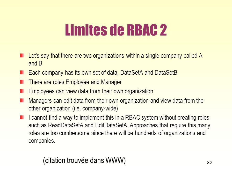 Limites de RBAC 2 Let's say that there are two organizations within a single company called A and B Each company has its own set of data, DataSetA and