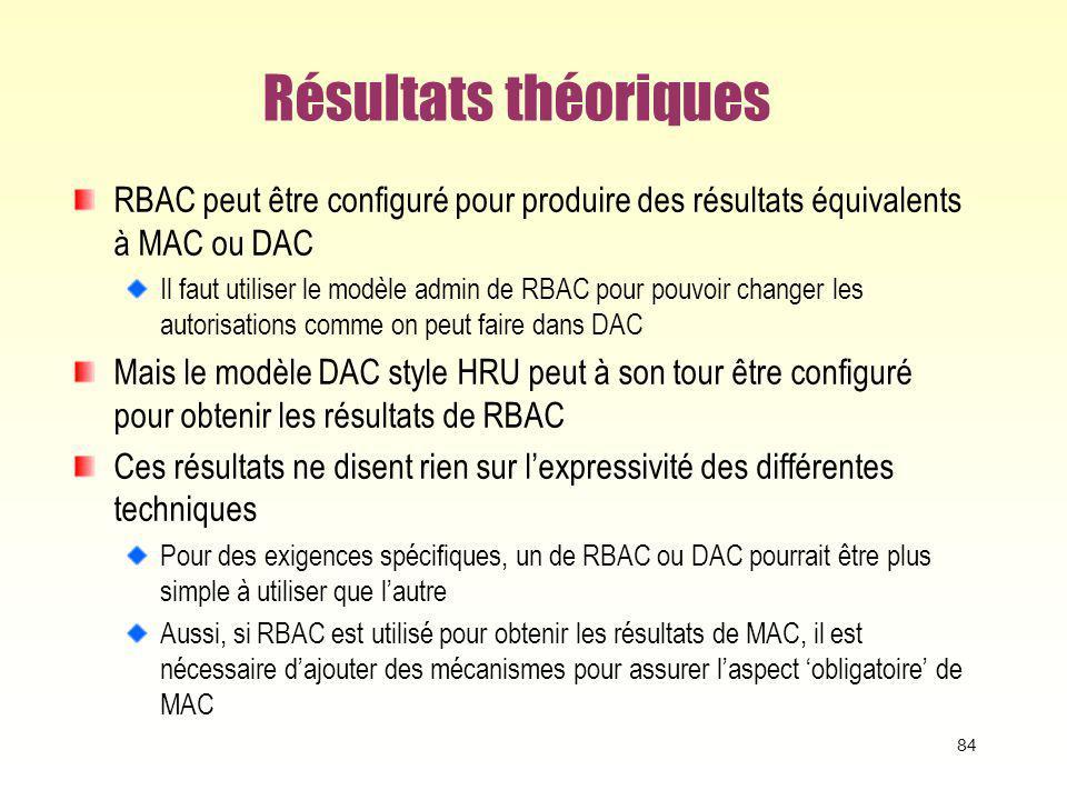 Résultats théoriques RBAC peut être configuré pour produire des résultats équivalents à MAC ou DAC Il faut utiliser le modèle admin de RBAC pour pouvo