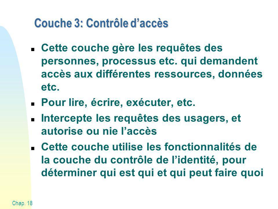 Chap. 18 Couche 3: Contrôle daccès n Cette couche gère les requêtes des personnes, processus etc.