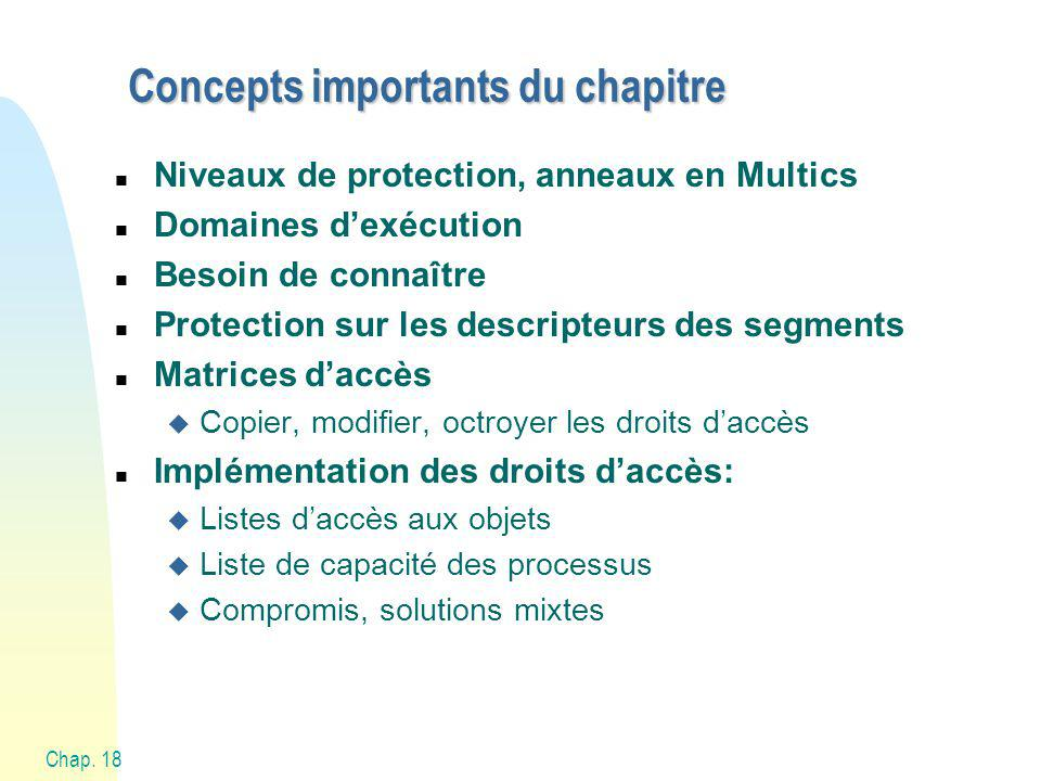 Chap. 18 Systèmes DAC: Discretionary Access Control