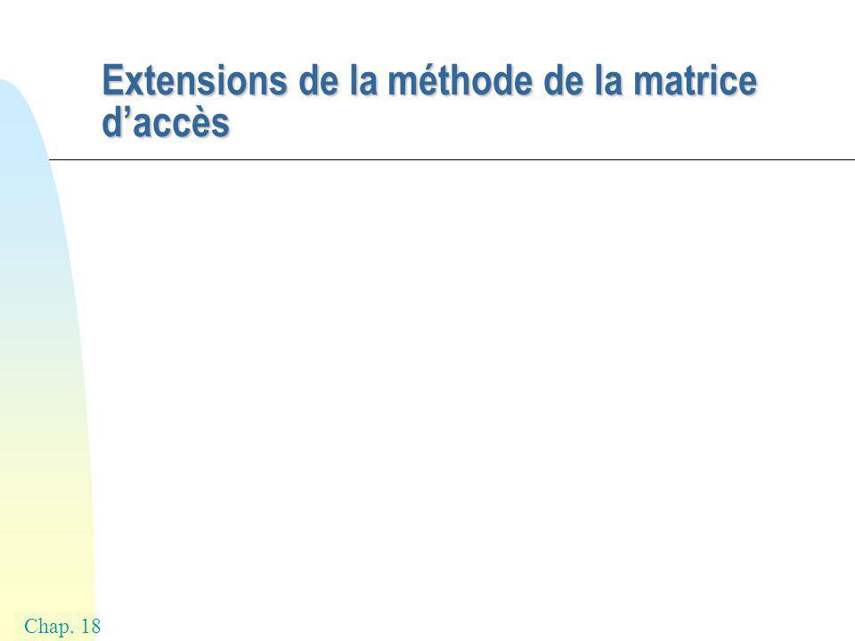 Chap. 18 Extensions de la méthode de la matrice daccès