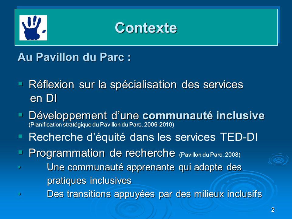 2 ContexteContexte Au Pavillon du Parc : Réflexion sur la spécialisation des services Réflexion sur la spécialisation des services en DI en DI Dévelop