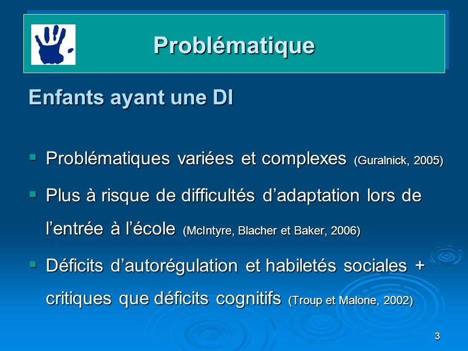 3 ProblématiqueProblématique Enfants ayant une DI Problématiques variées et complexes (Guralnick, 2005) Problématiques variées et complexes (Guralnick
