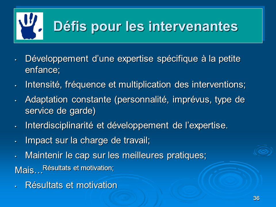 36 Développement dune expertise spécifique à la petite enfance; Développement dune expertise spécifique à la petite enfance; Intensité, fréquence et m