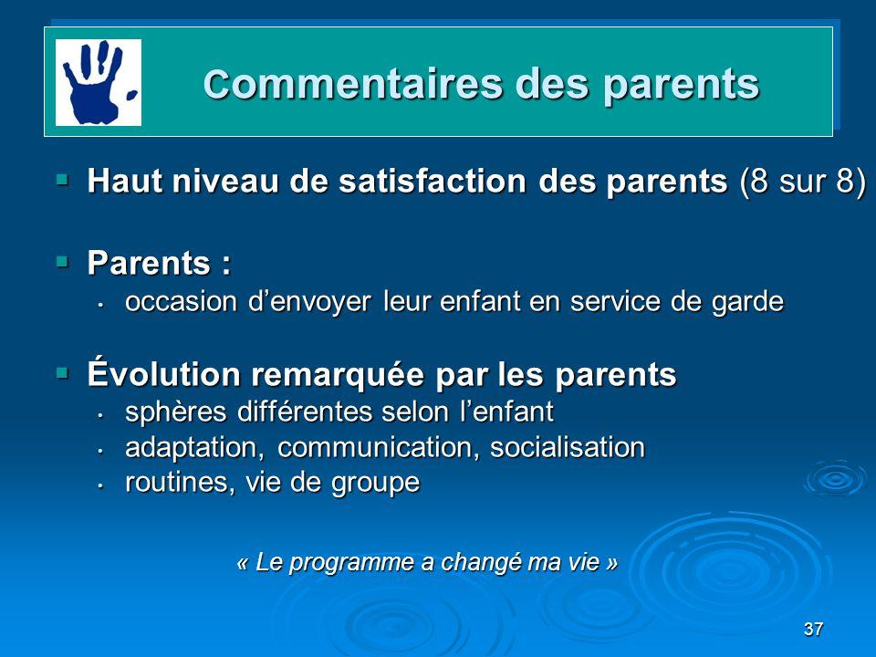 37 Haut niveau de satisfaction des parents (8 sur 8) Haut niveau de satisfaction des parents (8 sur 8) Parents : Parents : occasion denvoyer leur enfa