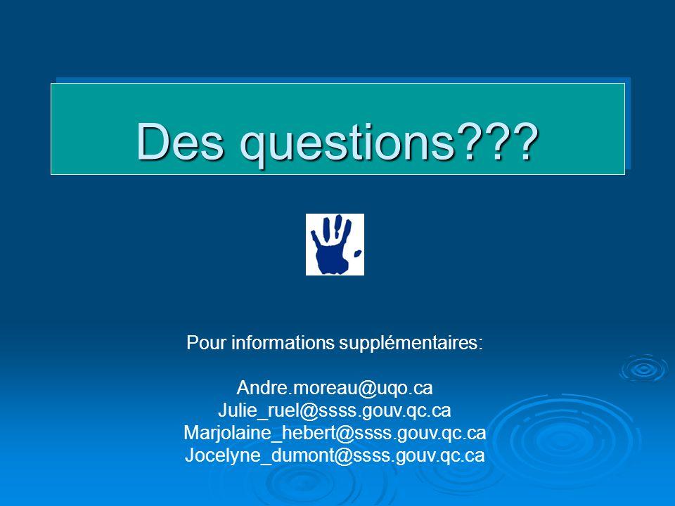 Des questions??? Pour informations supplémentaires: Andre.moreau@uqo.ca Julie_ruel@ssss.gouv.qc.ca Marjolaine_hebert@ssss.gouv.qc.ca Jocelyne_dumont@s