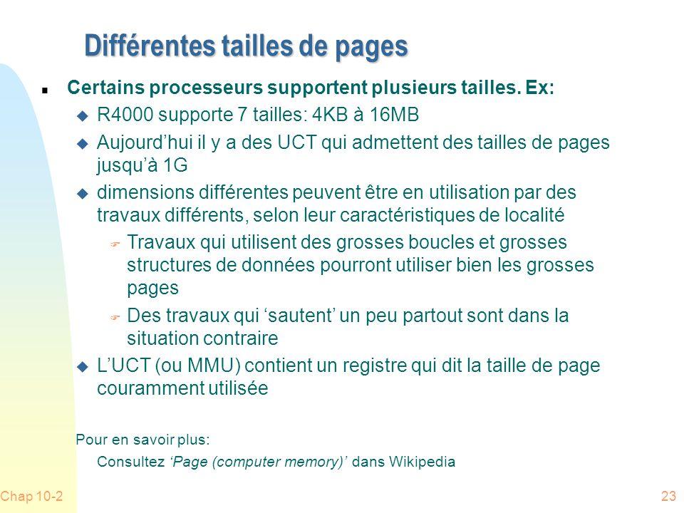 Chap 10-223 Différentes tailles de pages n Certains processeurs supportent plusieurs tailles.