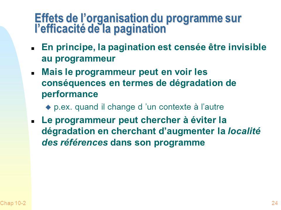 Chap 10-224 Effets de lorganisation du programme sur lefficacité de la pagination n En principe, la pagination est censée être invisible au programmeur n Mais le programmeur peut en voir les conséquences en termes de dégradation de performance u p.ex.
