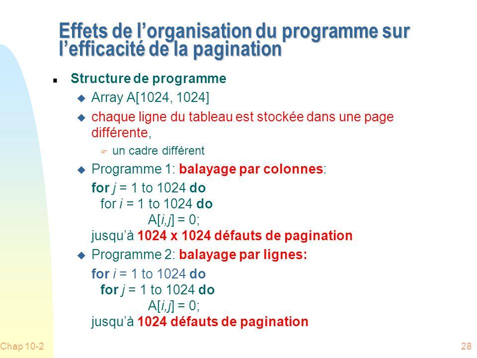 Chap 10-228 Effets de lorganisation du programme sur lefficacité de la pagination n Structure de programme u Array A[1024, 1024] u chaque ligne du tableau est stockée dans une page différente, F un cadre différent u Programme 1: balayage par colonnes: for j = 1 to 1024 do for i = 1 to 1024 do A[i,j] = 0; jusquà 1024 x 1024 défauts de pagination u Programme 2: balayage par lignes: for i = 1 to 1024 do for j = 1 to 1024 do A[i,j] = 0; jusquà 1024 défauts de pagination