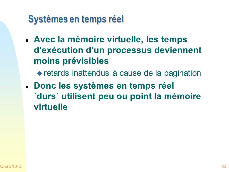 Chap 10-232 Systèmes en temps réel n Avec la mémoire virtuelle, les temps dexécution dun processus deviennent moins prévisibles u retards inattendus à cause de la pagination n Donc les systèmes en temps réel `durs` utilisent peu ou point la mémoire virtuelle