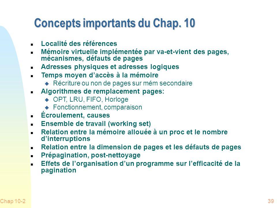 Chap 10-239 Concepts importants du Chap.