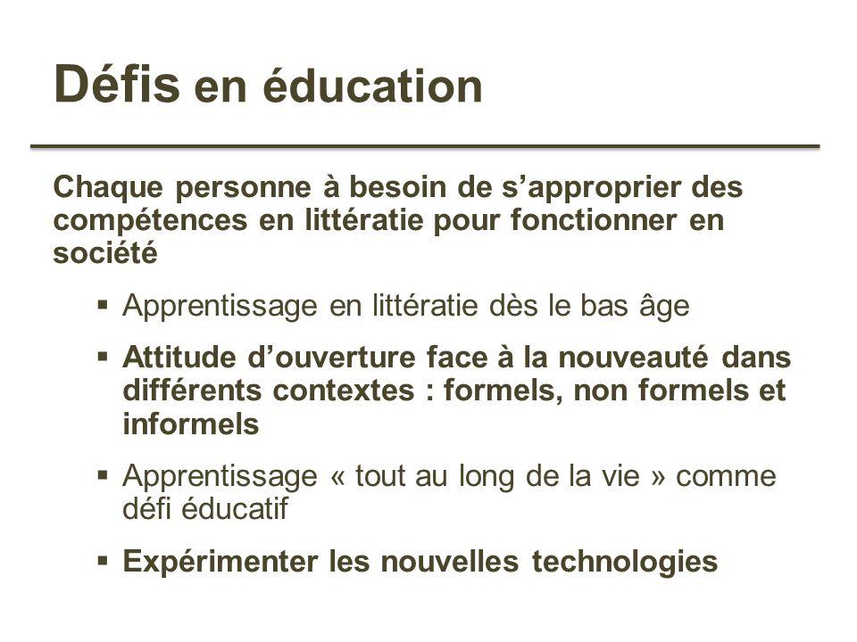 Défis en éducation Chaque personne à besoin de sapproprier des compétences en littératie pour fonctionner en société Apprentissage en littératie dès l