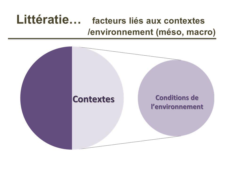 Littératie… facteurs liés aux contextes /environnement (méso, macro)