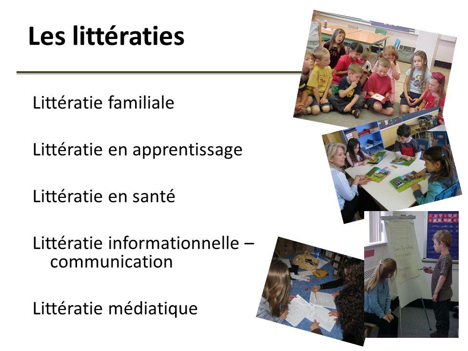 Les littératies Littératie familiale Littératie en apprentissage Littératie en santé Littératie informationnelle – communication Littératie médiatique