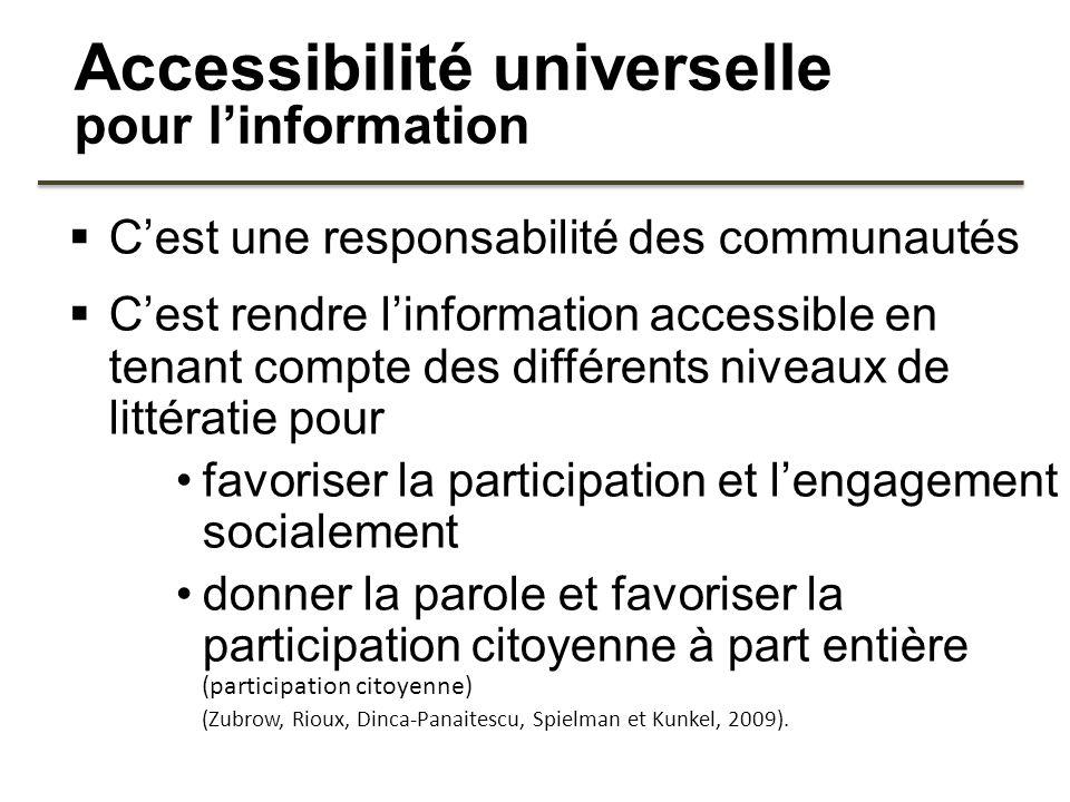 Accessibilité universelle pour linformation Cest une responsabilité des communautés Cest rendre linformation accessible en tenant compte des différent