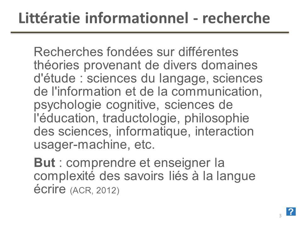 35 Littératie informationnel - recherche Recherches fondées sur différentes théories provenant de divers domaines d'étude : sciences du langage, scien