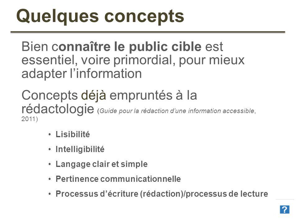 36 Quelques concepts Bien connaître le public cible est essentiel, voire primordial, pour mieux adapter linformation Concepts déjà empruntés à la réda