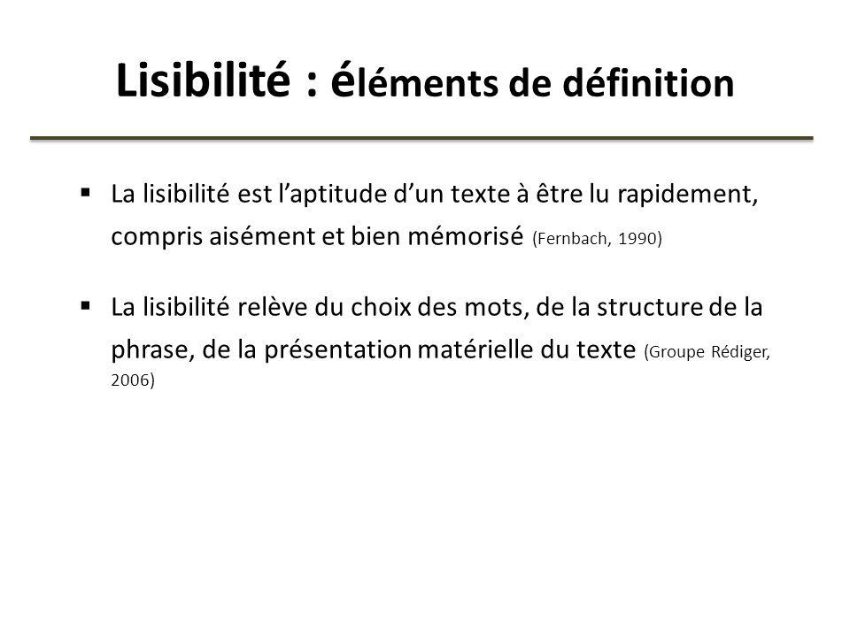 Lisibilité : é léments de définition La lisibilité est laptitude dun texte à être lu rapidement, compris aisément et bien mémorisé (Fernbach, 1990) La