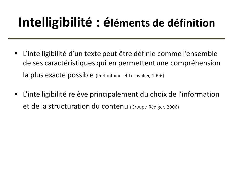 Intelligibilité : é léments de définition Lintelligibilité dun texte peut être définie comme lensemble de ses caractéristiques qui en permettent une c