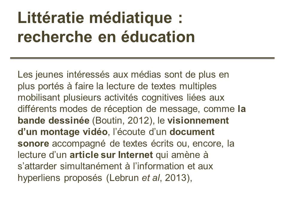Littératie médiatique : recherche en éducation Les jeunes intéressés aux médias sont de plus en plus portés à faire la lecture de textes multiples mob