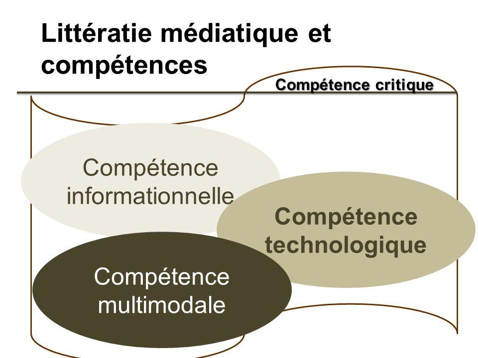 Littératie médiatique et compétences Compétence informationnelle Compétence technologique Compétence multimodale Compétence critique
