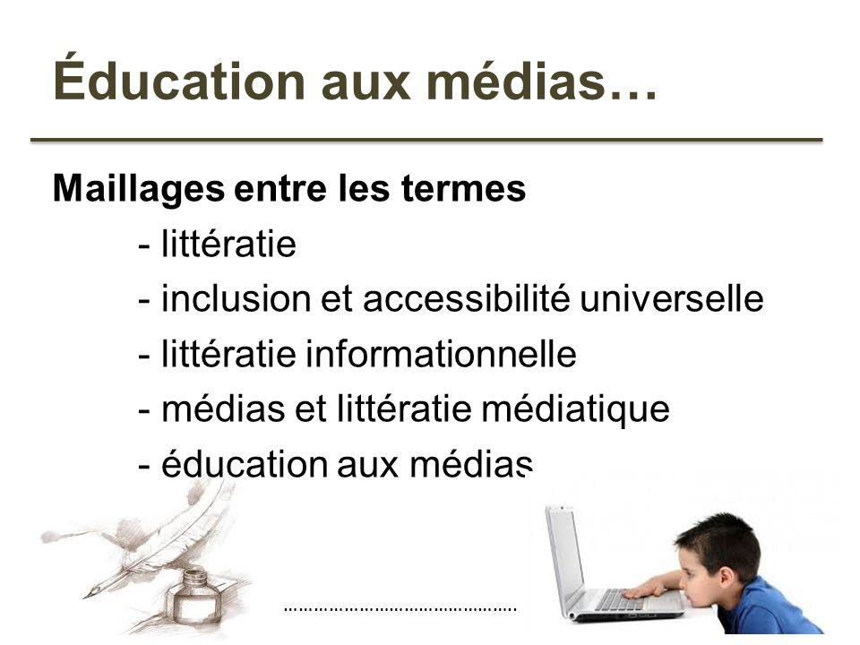 Éducation aux médias… Maillages entre les termes - littératie - inclusion et accessibilité universelle - littératie informationnelle - médias et litté