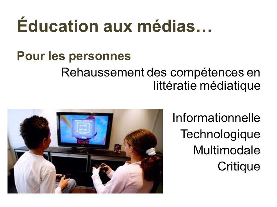 Pour les personnes Rehaussement des compétences en littératie médiatique Informationnelle Technologique Multimodale Critique Éducation aux médias…