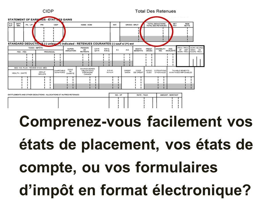 Comprenez-vous facilement vos états de placement, vos états de compte, ou vos formulaires dimpôt en format électronique?
