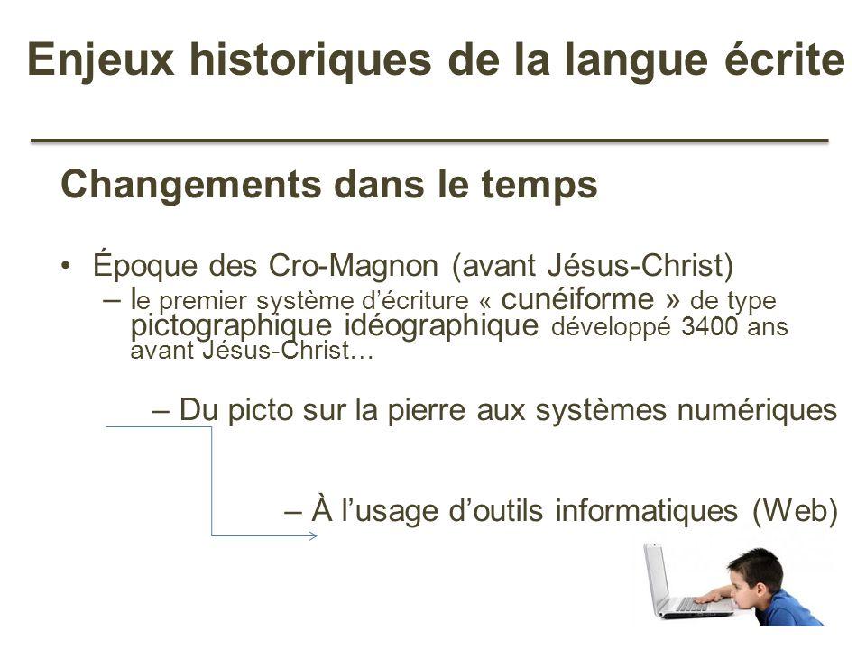 Enjeux historiques de la langue écrite Changements dans le temps Époque des Cro-Magnon (avant Jésus-Christ) –l e premier système décriture « cunéiform