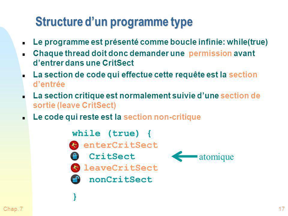 Chap. 717 Structure dun programme type n Le programme est présenté comme boucle infinie: while(true) n Chaque thread doit donc demander une permission