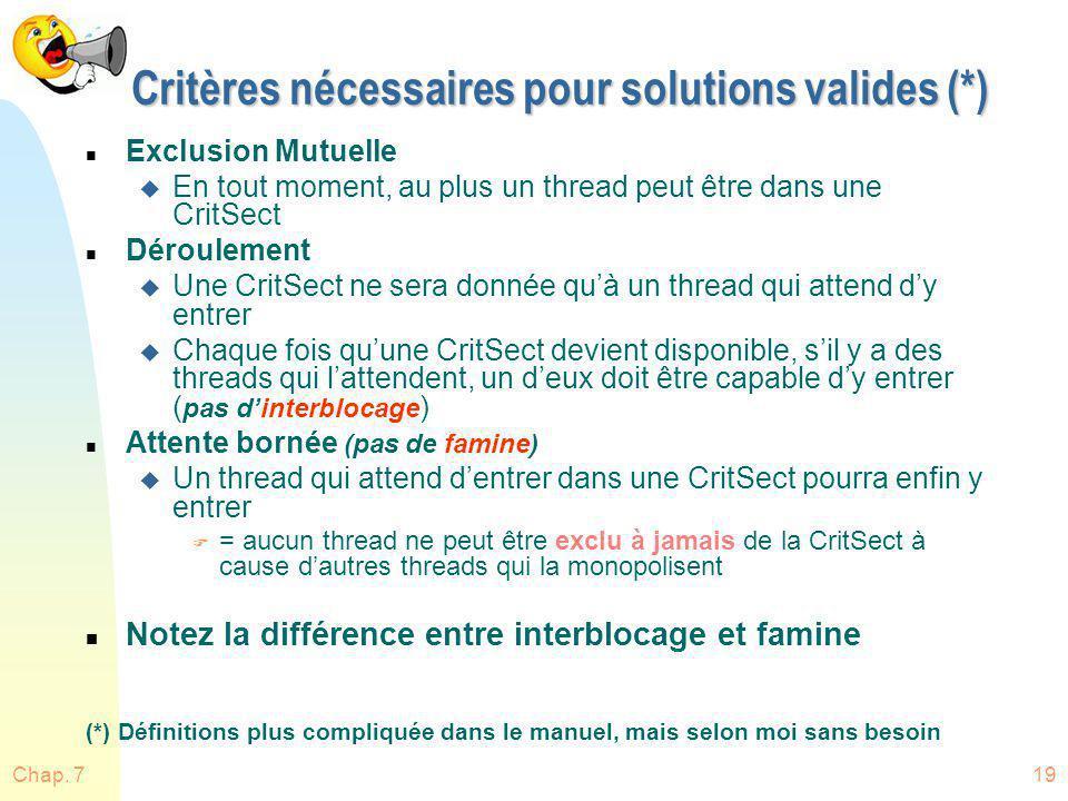 Chap. 719 Critères nécessaires pour solutions valides (*) n Exclusion Mutuelle u En tout moment, au plus un thread peut être dans une CritSect n Dérou