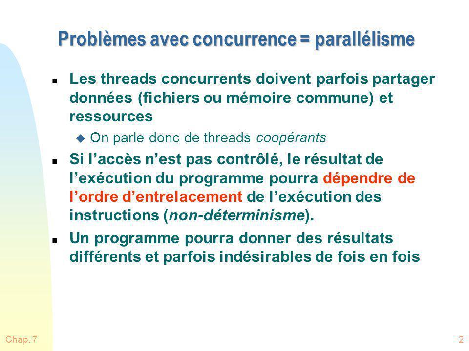 Chap. 72 Problèmes avec concurrence = parallélisme n Les threads concurrents doivent parfois partager données (fichiers ou mémoire commune) et ressour