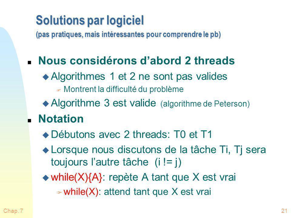 Chap. 721 Solutions par logiciel (pas pratiques, mais intéressantes pour comprendre le pb) n Nous considérons dabord 2 threads u Algorithmes 1 et 2 ne