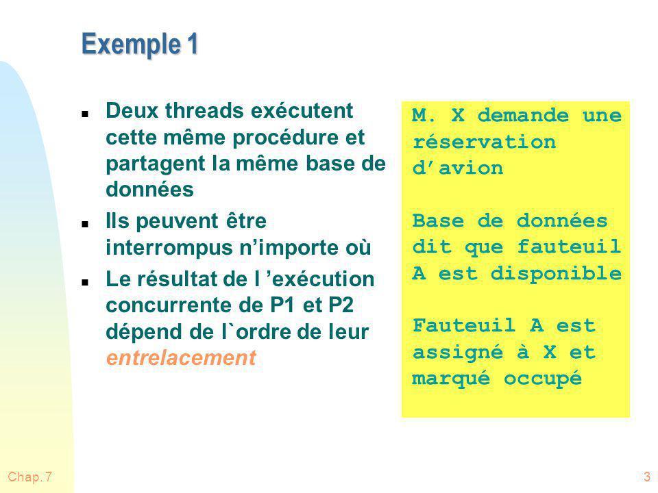 Chap. 73 Exemple 1 n Deux threads exécutent cette même procédure et partagent la même base de données n Ils peuvent être interrompus nimporte où n Le