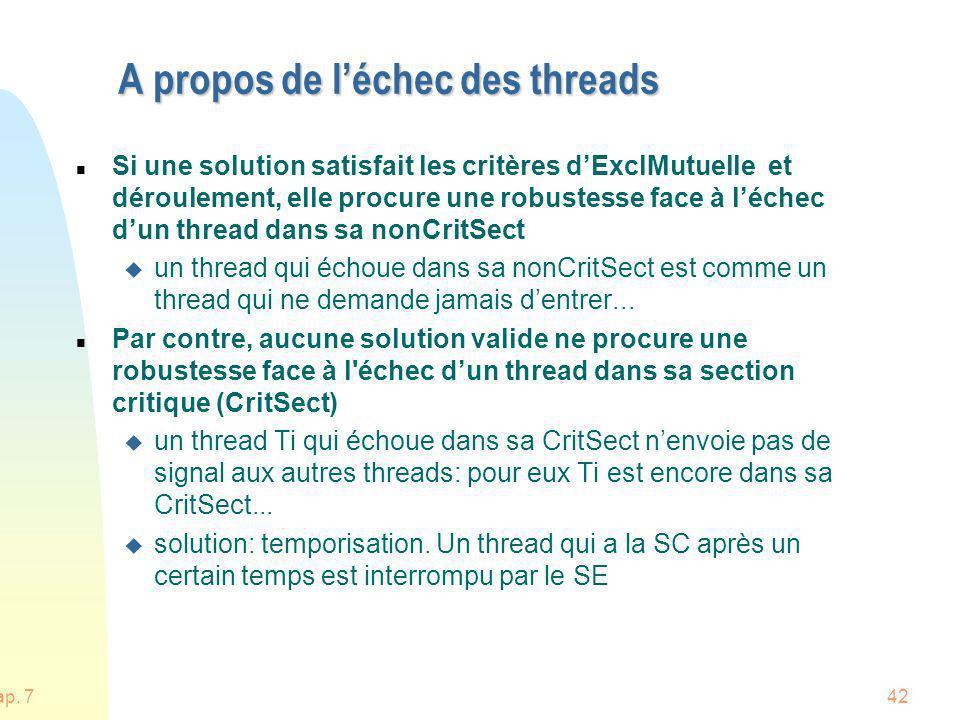 Chap. 742 A propos de léchec des threads n Si une solution satisfait les critères dExclMutuelle et déroulement, elle procure une robustesse face à léc