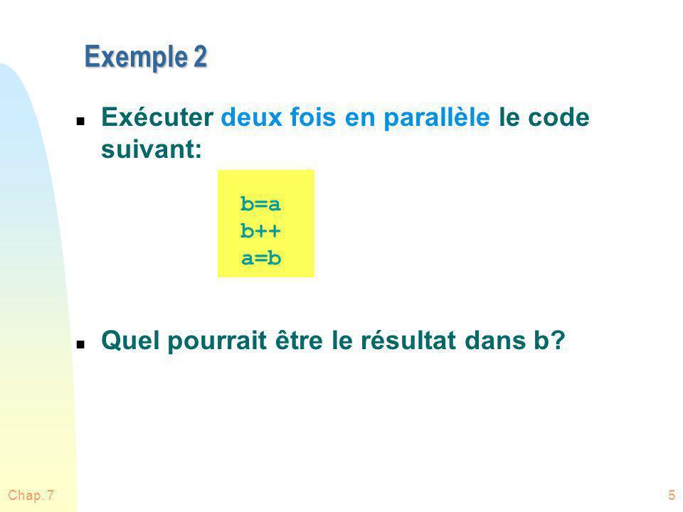 n Exécuter deux fois en parallèle le code suivant: n Quel pourrait être le résultat dans b? Exemple 2 Chap. 75 b=a b++ a=b