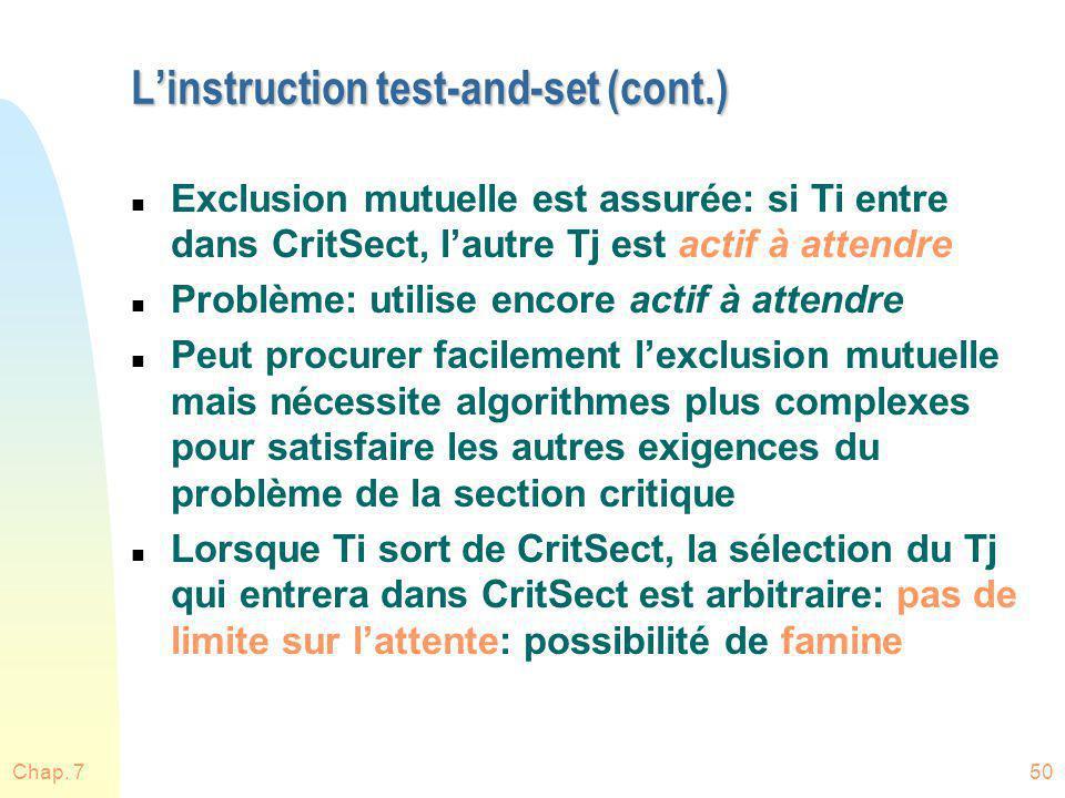 Chap. 750 Linstruction test-and-set (cont.) n Exclusion mutuelle est assurée: si Ti entre dans CritSect, lautre Tj est actif à attendre n Problème: ut