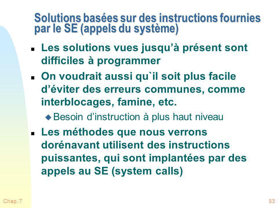 Chap. 753 Solutions basées sur des instructions fournies par le SE (appels du système) n Les solutions vues jusquà présent sont difficiles à programme