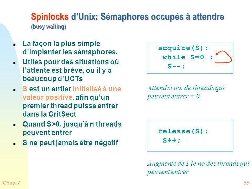 Chap. 755 Spinlocks dUnix: Sémaphores occupés à attendre (busy waiting) n La façon la plus simple dimplanter les sémaphores. n Utiles pour des situati